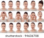 one kid   many faces. young... | Shutterstock . vector #94636708