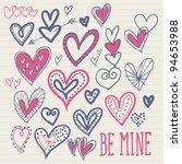 heart doodles vector   Shutterstock .eps vector #94653988