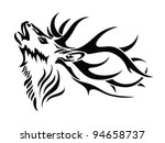 Isolated Deer Head   Vector...
