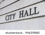 City Hall Sign - stock photo