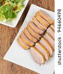 Tea Smoked Duck Breast and Salad. - stock photo