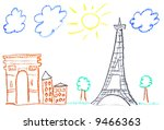 child drawing of paris... | Shutterstock . vector #9466363