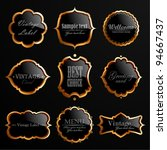 vector set of black gold labels ...   Shutterstock .eps vector #94667437