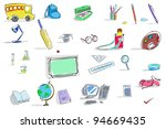 illustration of set of education icon on isolated background - stock vector
