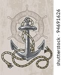 old anchor and helm with rope | Shutterstock .eps vector #94691626