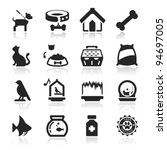 Stock vector pets icons set elegant series 94697005