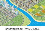 Colorful cartoon isometric city - stock vector