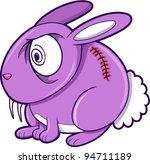 Crazy Purple Bunny Rabbit Animal Vector Illustration Art - stock vector