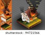 Ilustración detallada de una casa isométrica en fuego