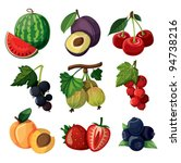 a set of delicious berries....   Shutterstock .eps vector #94738216