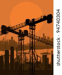 Industrial factory and crane landscape skyline background illustration vector - stock vector