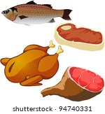 meat isolated on white... | Shutterstock .eps vector #94740331