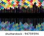 Skyscraper city landscape background illustration vector - stock vector
