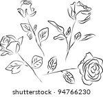 roses silhouette   white... | Shutterstock . vector #94766230