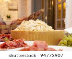 serrano, jamon and parmesan, grape - stock photo