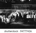 crowd of excited traders at... | Shutterstock . vector #94777426
