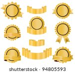 golden badges and ribbons | Shutterstock .eps vector #94805593