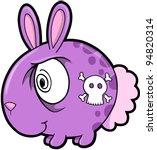 Crazy Skull Bunny Rabbit Animal Vector Illustration Art - stock vector