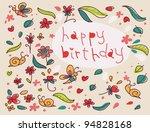 happy birthday flowers... | Shutterstock . vector #94828168