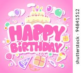 happy birthday pink card for... | Shutterstock .eps vector #94841512