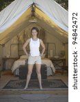 portrait of woman in tent | Shutterstock . vector #94842472