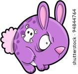 Crazy Bunny Rabbit Vector Illustration Art - stock vector