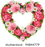 Stock vector vector illustration of roses heart frame isolated on white background 94844779