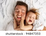 father and daughter laughing... | Shutterstock . vector #94847353