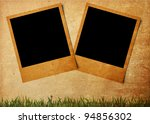 Blank photo on old paper notes background .Vintage style - stock photo