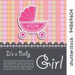 bright baby girl card | Shutterstock .eps vector #94869604