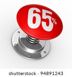 one button with number 65 and percent symbol (3d render) - stock photo