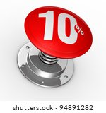 one button with number 10 and percent symbol (3d render) - stock photo