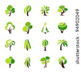 Stock vector trees collection of design elements icons set 94902049