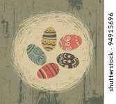 Easter Eggs In Nest On Wooden...