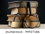 pile of old books with keylock... | Shutterstock . vector #94927186