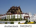Traditional thai architecture in Chiangmai - stock photo