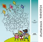 children playing with kites  ...   Shutterstock .eps vector #94945924