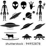 set of black alien icons on...