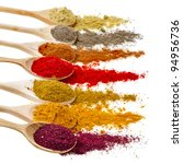assortment of powder spices on... | Shutterstock . vector #94956736