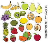 fruit and berry set isolated on ... | Shutterstock .eps vector #94960111