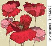 Poppy Flowers In Vintage Style