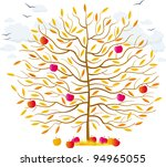 autumn tree with orange leaves... | Shutterstock .eps vector #94965055