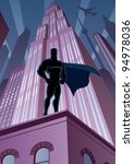 architecture,background,body,building,business,cape,cartoon,city,cityscape,cloak,comic book,concept,dark,darkness,defender