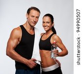 athletic man and woman after... | Shutterstock . vector #94990507