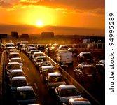 car traffic against the sunset...   Shutterstock . vector #94995289