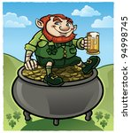 leprechaun on pot of gold | Shutterstock .eps vector #94998745