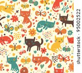 Stock vector cartoon seamless pattern with cute catsny cats 95002522