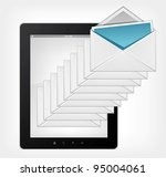 Email Concept. Tablet PC on Grey Gradient Background. Vector. - stock vector