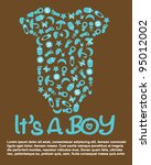 it's a boy baby shower | Shutterstock .eps vector #95012002