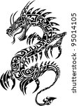 dragon tattoo iconic tribal... | Shutterstock .eps vector #95014105